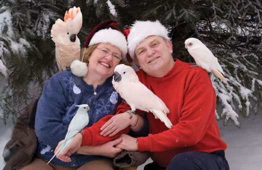 Ellen and her husband with their fabulous and feathery flock.